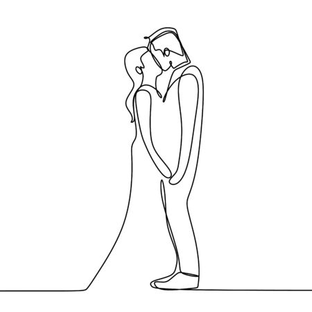 Couple kissing continuous line art drawing  illustration