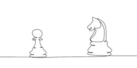 Chess player of pawn versus knight one line drawing. Continuous design of tactic game concept.