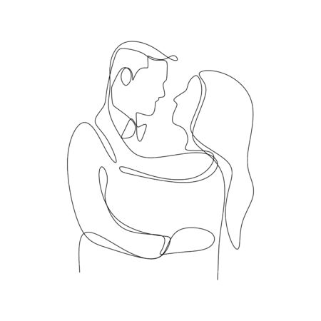 One continuous line drawing of romantic couple  illustration minimalist design isolated on white background.