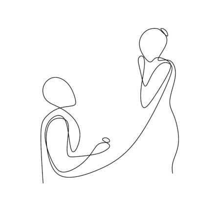 A man proposes to his girlfriend on continuous line drawing illustration.