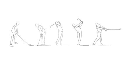 continuous line drawing set of golf player with sport game theme.