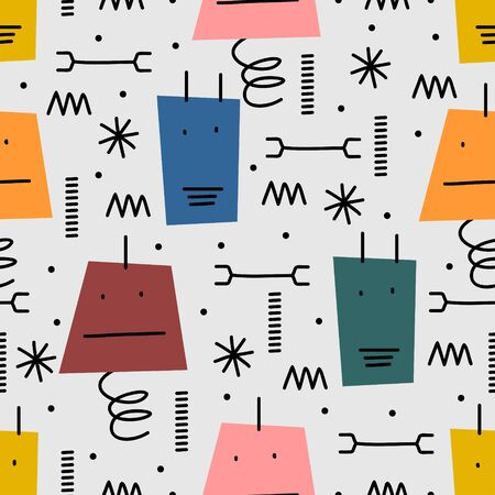 Cute robots seamless pattern for baby and kids. Repeated robot character design with hand drawn scandinavian style drawing. Vecteurs