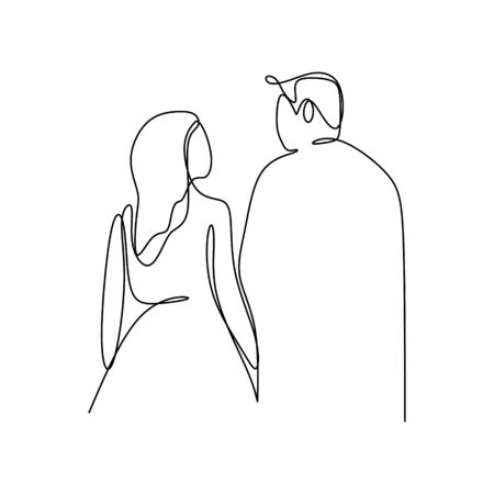 valentine couple one continuous line art drawing illustration minimalism style