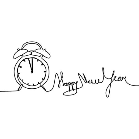 New year continuous line drawing with clock and typography  illustration Иллюстрация