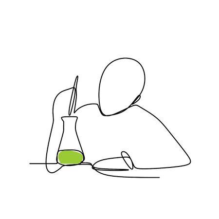 A person make a chemical reaction with continuous line art drawing  illustration Illustration