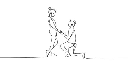 One continuous line drawing of romantic couple vector illustration minimalist design isolated on white background. Ilustração