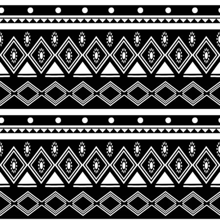 Black and white african tribal pattern background. Abstract traditional ethnic hand drawn motif monochrome colors illustration for fashion textile print. Vektoros illusztráció