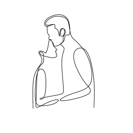 couple with single continuous one line drawing  illustration romantic creative minimalist concept