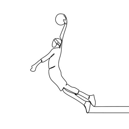Basketball player during match game, he slam dunk a ball. Continuous single line drawing illustration. Lineart sport theme design minimalist minimalism style.