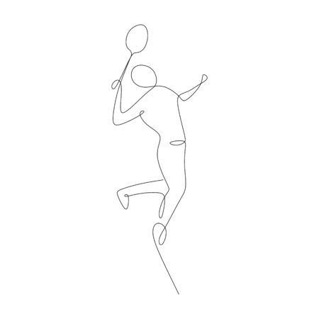 continuous line drawing of a person playing badminton sport game.
