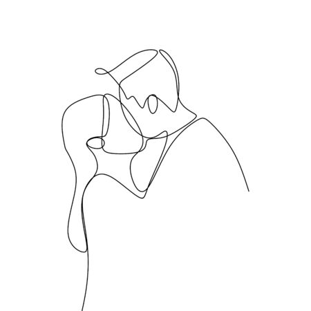 Couple kissing continuous line art drawing vector illustration