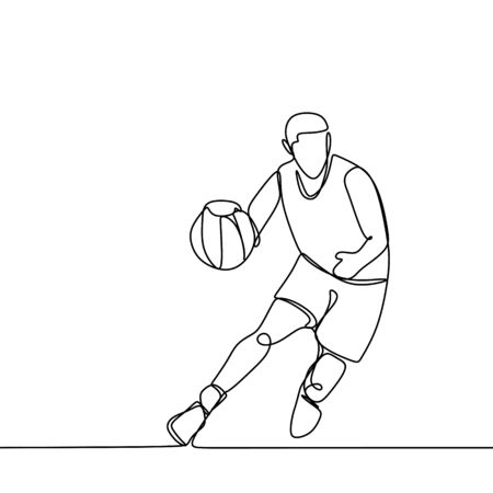 Basketball player dribbling during a game. Continuous single line drawing illustration. Lineart sport theme design minimalist minimalism style.
