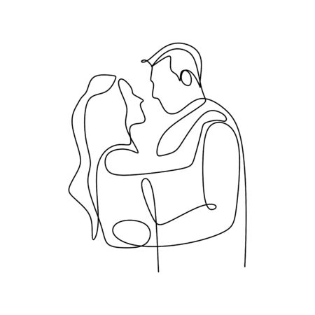 One continuous line drawing of romantic couple vector illustration minimalist design isolated on white background. Vettoriali