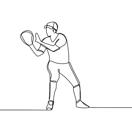 One line drawing of baseball player ready to catch the ball vector illustration.
