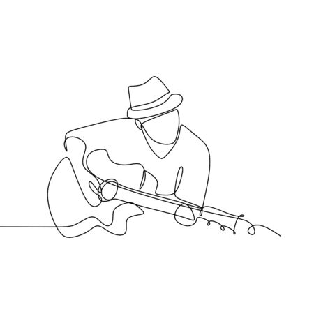 Person sing a song with acoustic jazz guitar continuous one line art drawing vector illustration minimalist design