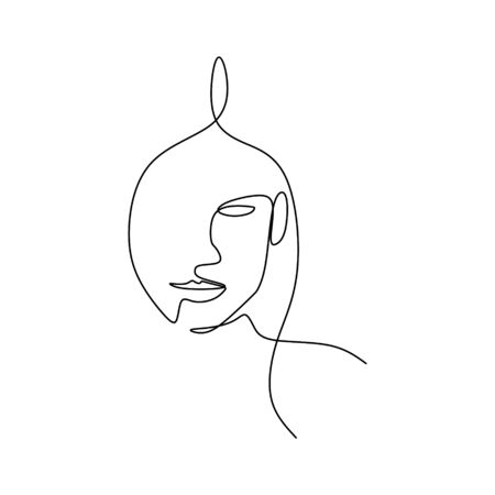 Abstract face continuous one line drawing  illustration minimalism style on white background. Illustration