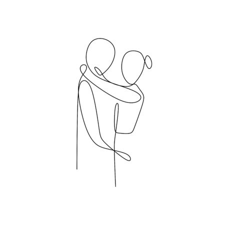 Couple in love, kissing and dating one line drawing vector illustration minimalist design