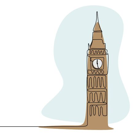 London City of Westminster Big Ben clock tower continuous line drawing minimalism style with colors vector illustration. Çizim