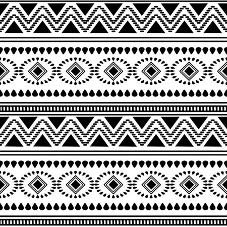 Black and white african tribal pattern background. Abstract traditional ethnic hand drawn motif monochrome colors illustration for fashion textile print.