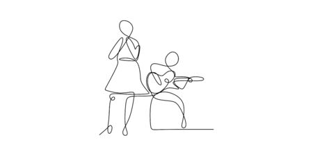 continuous line drawing of a person playing acoustic guitar and young girl singing minimalist design concept. Illustration