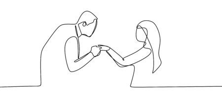 Romantic couple one line drawing. Vector of a man holding his girlfriend want to kiss her hand