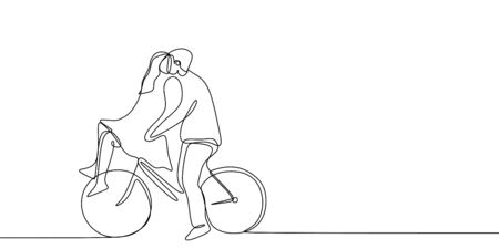 Continuous line drawing of cute romantic couple in love riding bicycle  illustration.