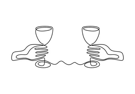 Continuous one line drawing of Hands cheering with glasses of champagne or wine