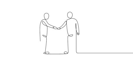 Business meeting concept. Continuous line art drawing of people community with shaking hands  illustration. Illustration