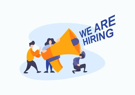 Business hiring for job worker flat illustration vector. We are hiring text concept with people team in creative style with big megaphone horn.