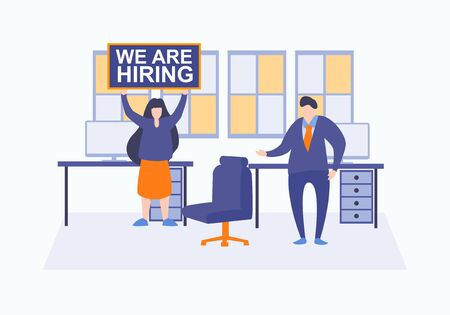 We are hiring vector. Concept of Head hunters. Finding new staff metaphor. Vacant place in an office. Workplace with a computer in the office. Flat illustration with businessman and businesswoman Illustration