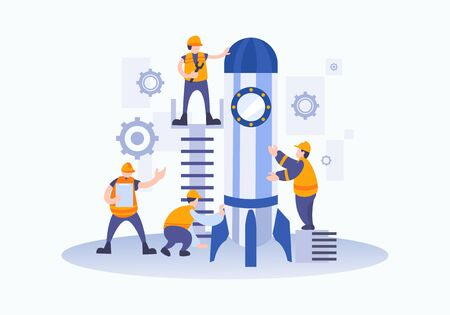 vector illustration people are building a spaceship rocket. Engineers and worker in manufacturing with safety uniform. cohesive teamwork in the startup