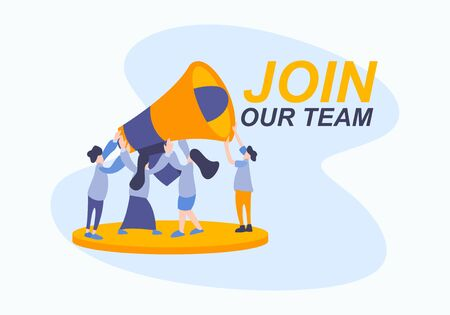 Business hiring for job worker flat illustration vector. Join our team concept with people team in creative style with big horn.