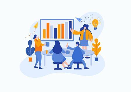 Vector flache Illustration eine Gruppe von Personencharakteren denkt über eine Idee der Analysestrategie nach. bereiten Sie ein Geschäftsprojekt vor. Konzept des Teammanagements von Brainstorming-Projekten.