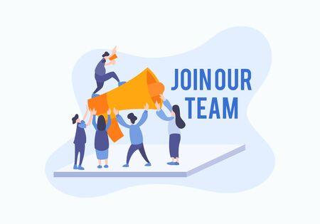Entreprise embauchant pour le vecteur d'illustration plat de travailleur d'emploi. Rejoignez notre concept d'équipe avec une équipe de personnes dans un style créatif avec une grande corne.