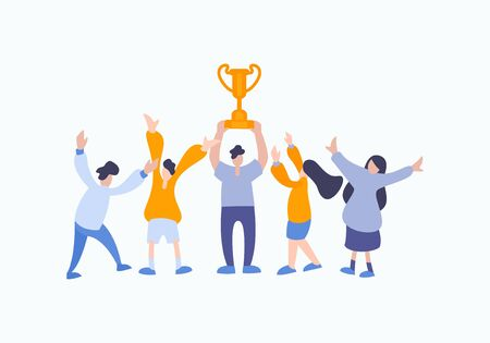 Vector winner concept of people team members. Business flat illustration with happy man and woman rising trophy cup prize after win a competition work. Vector Illustratie