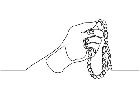 Continuous line drawing hand holding Tasbeeh or prayer beads.