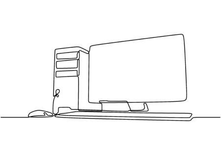Computer kontinuierliche Strichzeichnung. Minimalistisches Technologiekonzept für CPU und Monitor. Elektronischer Gegenstand der Vektorillustration auf weißem Hintergrund. Vektorgrafik