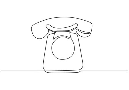 Retro phone one line drawing. Vector illustration old electronic object. Vintage minimalism continuous contour lineart style. Foto de archivo - 137230854