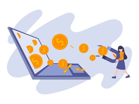 Business flat design illustration of woman successful attract money with magnet from laptop. Vector cartoon metaphor concept of businesswoman get dollar coins from digital marketing achievement.