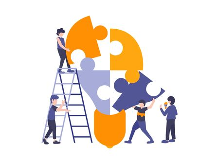 People connecting puzzle elements to build a light bulb. Vector illustration business concept. Team metaphor flat design style. Symbol of teamwork, cooperation, partnership.