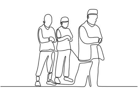 Oración musulmana. Gente rezando a Dios. Dibujo continuo de una línea. Ilustración de minimalismo vectorial con contorno simple dibujado a mano. Ilustración de vector