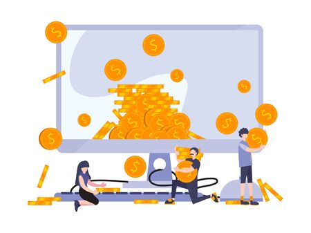 Business flat people vector illustration. People collecting money from big monitor. Metaphor concept of profit marketing strategy and earning. Virtual saving and investment.