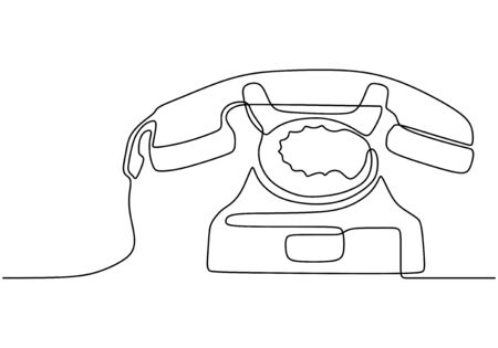Retro phone one line drawing. Vector illustration old electronic object. Vintage minimalism continuous contour lineart style. Foto de archivo - 137230882