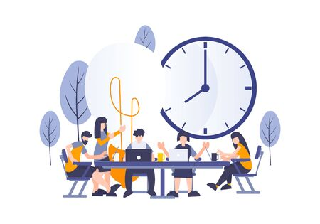 Creative startup workers business concept with group of young employee discussing and brainstorming to get an idea with perfect deadline. Metaphor vector illustration for web and landing page element