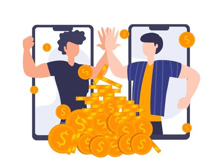Refer a friend concept. Vector illustration of referral program. People Businessman high five on mobile phone screen. Cooperation work of digital working.