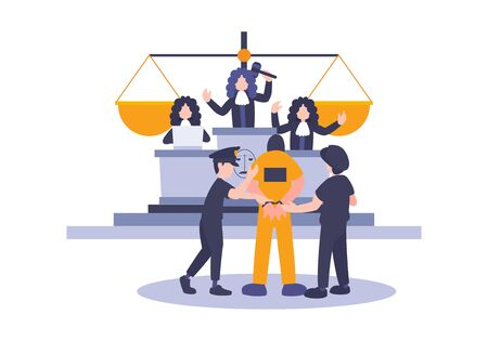 Law and Justice Concept with Characters and Judicial Elements, prisoner, Gavel, and Lawyer. Vector flat elements of judgment and court jury people. Idea concept of advocate and the judge.