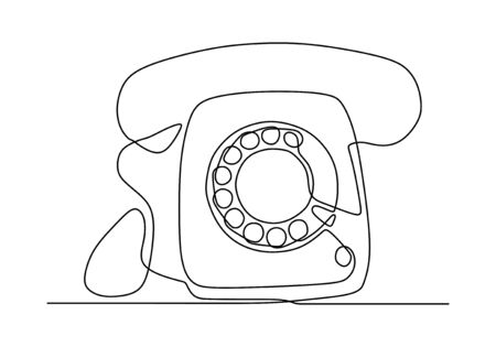 Retro phone one line drawing. Vector illustration old electronic object. Vintage minimalism continuous contour lineart style. Foto de archivo - 137231767