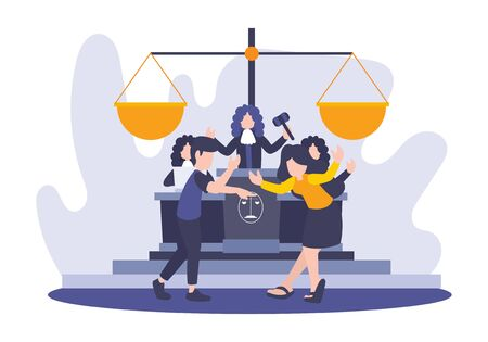 Vector flat illustration of people conflict during the judge. Metaphor of divorce in court. Law and legal settlement idea concept with big law scales. Breaking Relationship between Man and Woman. Ilustración de vector