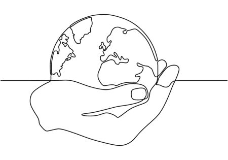 Continuous one line drawing of hand holding world globe. Concept of earth and ecology conservation. Vektoros illusztráció