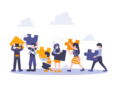 People connecting puzzle elements. Vector illustration business concept. Team metaphor flat design style. Symbol of teamwork, cooperation, partnership. Vector Illustration